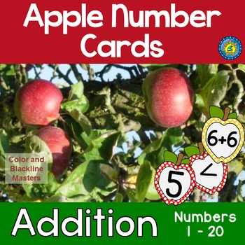 APPLE Math Number and Addition Cards for Matching, Adding,