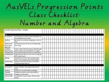 Number and Algebra - AusVELs Progression Points - Class Checklist