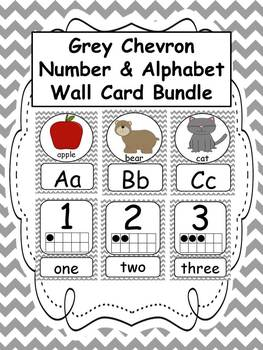 Number and Alphabet Grey Chevron Wall Card BUNDLE