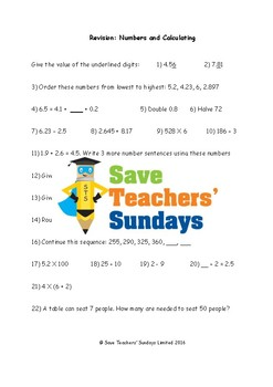 Number and Calculating Revision / Assessment (4 levels of difficulty)