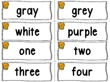 Number and Color Word Wall Words (cupcake theme) -Freebie