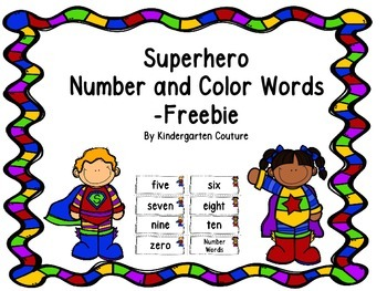 Number and Color Words (superhero theme) -FREEBIE
