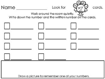 Number and Color Write the Room Cards and Worksheets