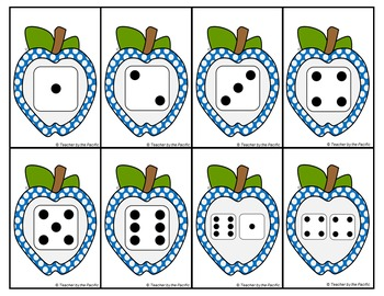 APPLE Math Number and Dice Cards for Matching, Adding, Memory, and Comparing