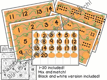 Number, Letter and Shape Match in the Pumpkin Patch for Preschool BUNDLE
