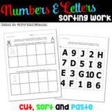 Number and Letter Sorting Fun / Back To School Activities for Pre-K & Kinder