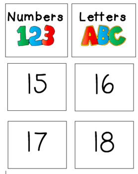 Number and Letter Sorting Life Skills Cards Activity
