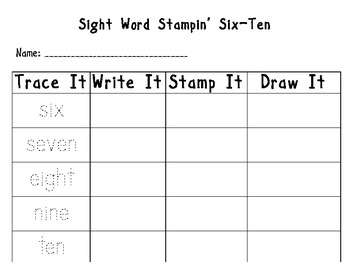 Number and Letter Stampin' (1-20 and a-z)