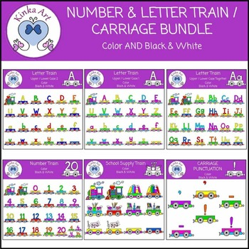 Number and Letter Trains Clip Art Bundle