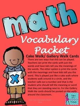 Number and Number Sense Mathematics Vocabulary Packet