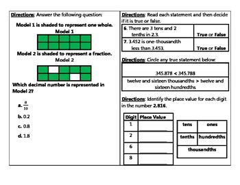 Number and Number Sense Place Value Assessment for Decimals