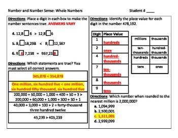 Number and Number Sense Place Value Assessment for Whole Numbers