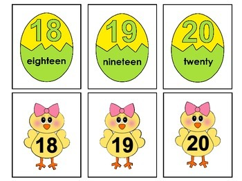 Number Cards 1-20  -Easter Theme