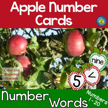 APPLE Math Number and Word Cards for Sequencing, Matching,