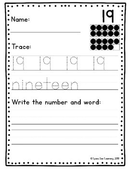 Number and Number Word Handwriting Practice Packet