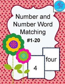 Number and Number Word Matching Game. Numbers Review.