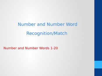 Number and Number Word Recognition / Matching