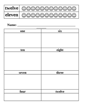 Number and Number Words Activity