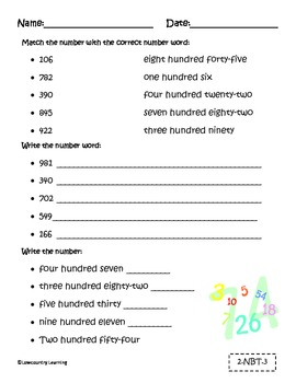 Number and Number Words - Place Value Forms - 2.NBT.1 &2.NBT.3