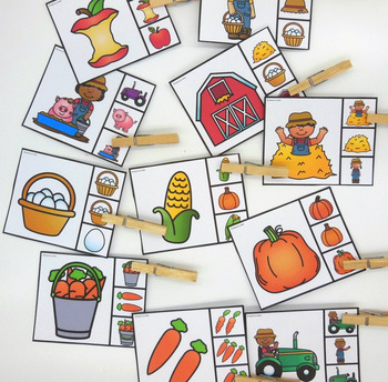 visual discrimination clip cards-number to numeral clip cards-farm theme