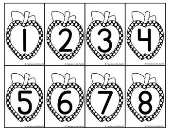 APPLE Number + Counting Objects Cards for Matching-Sequencing-Memory-Comparing
