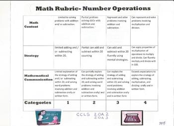Number and Operation 2nd grade rubric