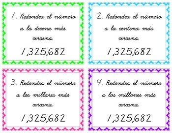 Number and Operation Skill Cards- Spanish