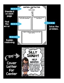 Math Error Analysis Tasks with Silly Sandy (Addition, Subtraction, and more!)