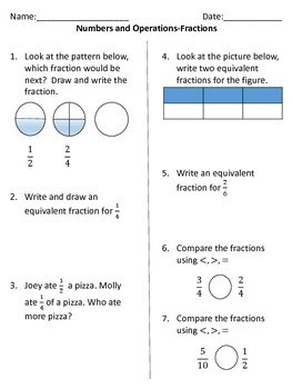 Fourth Grade Number and Operations Fractions Assessment (Common Core Aligned)