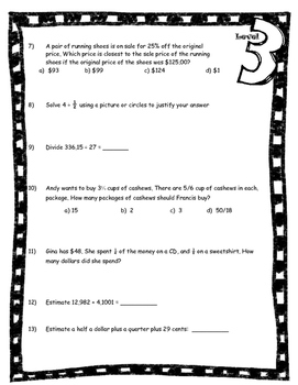 Number and Operations - Math Assessment Minnesota 6th Grade Standard 3