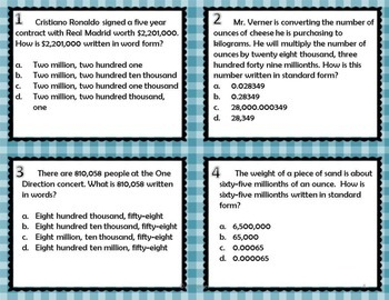 Number and Operations Task Cards { Math Center }