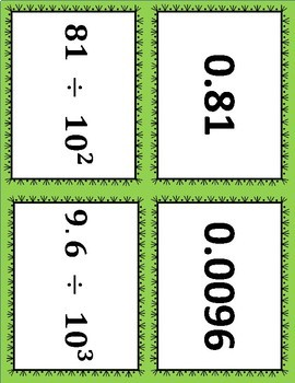Number and Operations in Base Ten: 5.NBT.1-2 - Matching Cards Using Powers of 10