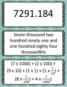 Number and Operations in Base Ten: 5.NBT.A.3a - Matching Cards and Games