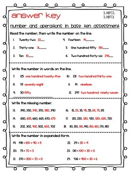 Number and Operations in Base Ten Assessment 2nd Grade Math Bundle NBT