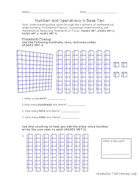 Number and Operations in Base Ten Assessment & Rubric (2nd Grade CCSS Aligned)