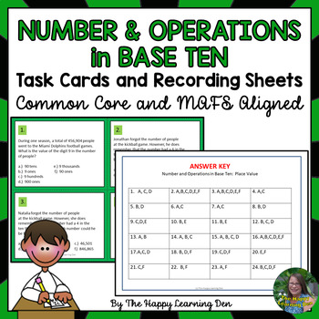 Number and Operations in Base-Ten Task Cards for 4th Grade