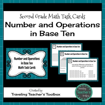 Number and Operations in Base Ten - Second Grade Math Task Cards