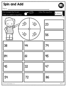 Ten More Ten Less | NBT 1.5 | No Prep Tasks | Assessment | Worksheets