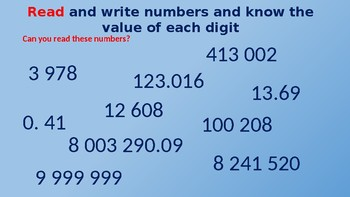 Number and Place Value 6th Grade  Revision