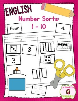 Number and Quantity Recognition: Numbers 1-10 Sort (English)