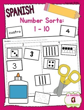 Number and Quantity Recognition: Numbers 1-10 Sort (Spanish)