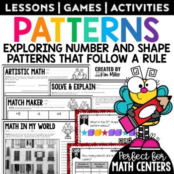 Number and Shape Patterns Math Test Prep Task Cards