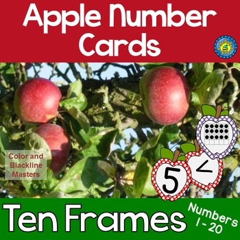 APPLE Math Number and Ten Frame Cards for Matching, Memory, Adding, Comparing