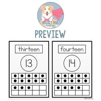 Number and Ten Frame Posters for Classroom Display (Black and White Blackline)
