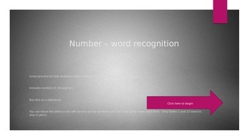Number and Word Match/Recognition