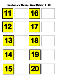 Number and number word match to 20