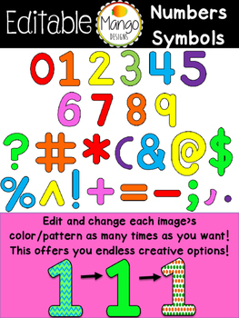 Number and symbol Clip Art Editable