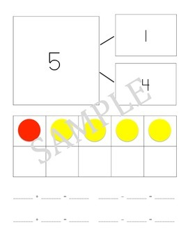 Number bond cards (representing the numbers 5-10)