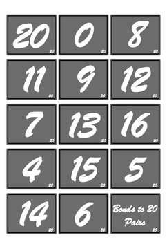 Number bonds to 10 and 20 games and worksheet bundle