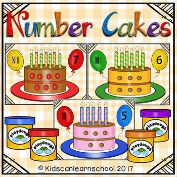 Number cakes 1-10-Play dough Workstation